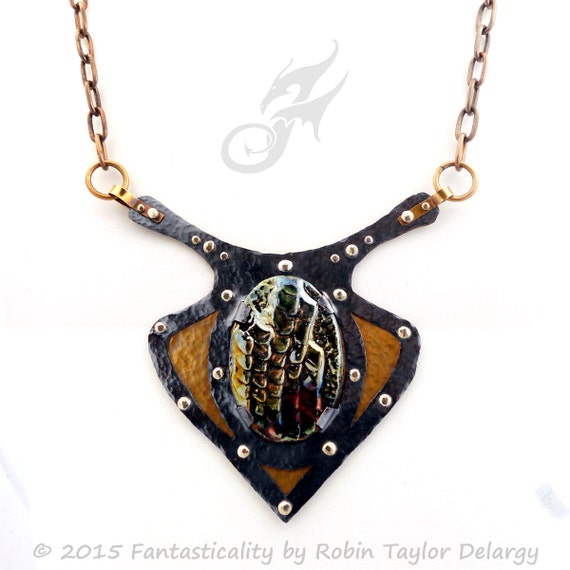 HARNESSED ~ Dragon Skin Metalwork Statement Necklace ~ Copper, Brass & Fine Silver ~ Handmade Raku Pottery ~ #N0598 by Robin Taylor Delargy