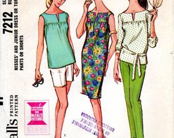 1960s Yoke Dress or Blouse & Slim Pants or Shorts - Vintage Pattern McCall's 7212 - Bust 31 1/2