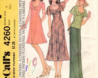 1970s Gathered Sweetheart Neckline Dress Top- Vintage Pattern McCall's 4260 - Size 6 UNCUT FF