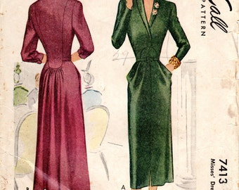 1940s Dress with Seaming - Vintage Pattern McCall 7413 - Bust 30