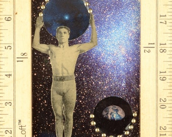 Implied Infinty:  framed original mixed media collage,assemblage art, blue, copper, stars and earth by Leslee Lukosh of Foundturtle.
