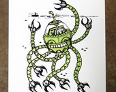 Octobot - hand pulled screenprint poster