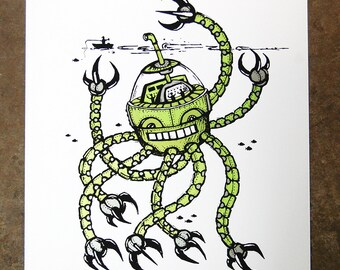 Octobot - hand pulled screenprint