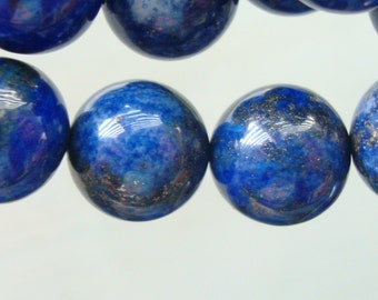 1/2 Strand, 10mm, Midnight Blue Lapis Lazuli Round Smooth Beads, B-0033