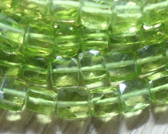 Gorgeous Sparkling Genuine Peridot Faceted Cube Beads, 4-4.5mm, Full strand - August Stone
