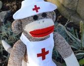 Brown Sock Monkey Doll Nurse, School Nurse , Nursing School Graduation, Nurse Appreciation Day