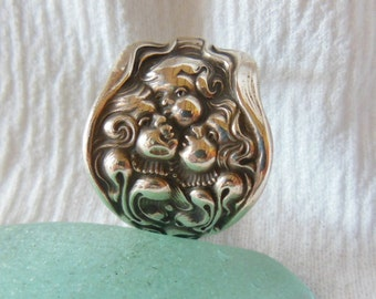 Antique Sterling Silver Spoon Ring  Cupids Nosegay