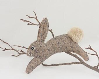 Bunny Rabbit - Stuffed Bunny Toy - Plush Hare - Baby Nursery/Kids' Room - Blue/Cream - Folk Art - Soft Sculpture - Baby Shower Gift - OLIVIA
