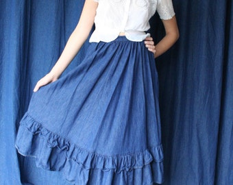 Denim Midi Skirt / Ruffled Long Jean Skirt / 1970's Jean Skirt / Haute Hippie / 1970s Skirt / Bohemian Summers / Dark Wash Denim Skirt