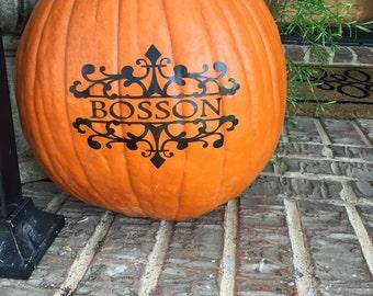Pumpkin Decal ~ Halloween Pumpkin Vinyl Decal ~ Pumpkin Monograms ~ Halloween Decal ~ Jack O Lantern Decal ~ Pumpkin Stickers ~ Vinyl Decal