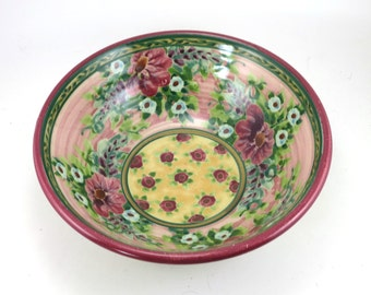 Pink Porcelain Serving Bowl - Large Ceramic Serving Dish with Flower Design - OOAK