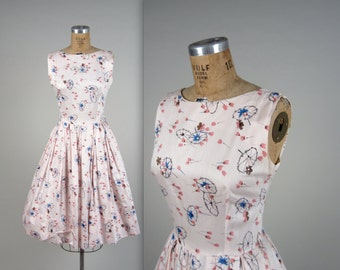 1950s rhinestone and novelty print dress • vintage 50s dress • cotton sun dress