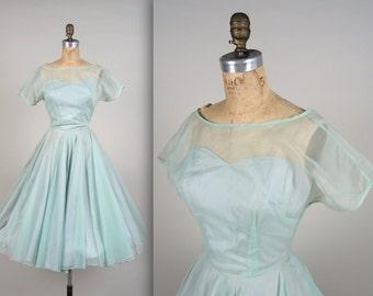 1950s organza illusion dress • vintage 50s dress • sea foam prom dress