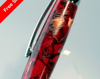 Handmade Rollerball Pen Potpourri Hibiscus Flowers Cast in Red Acrylic Resin