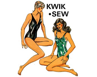 Kwik Sew 1220 Womens Swimsuit One Piece Bathing Suit 80s Vintage Sewing Pattern Bust 32 1/2 - 37 inches UNCUT Factory Folds