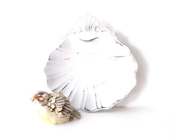 Vintage French Chic Petite Seashell Dish. Scalloped Bowl. Painted shabby chic white.