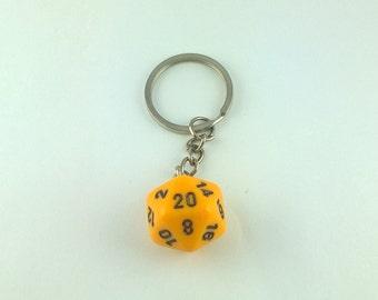 Yellow D20 Dice Keychain, Geek Keychain, Nerd Keychain, Gamer Keychain, Table Top Dungeons and Dragons Keychain