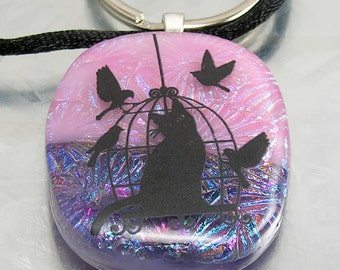 TRAPPED: Fused Glass Bird Cage Kitty Pendant, Key Fob, Key Chain, Key Ring