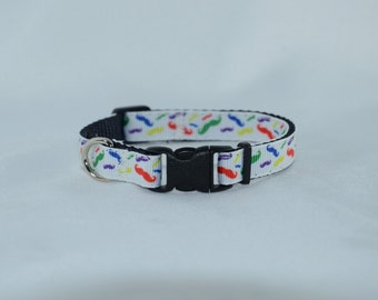 RTS - SALE - Multi Color Mustaches - Small Dog Adjustable Collar
