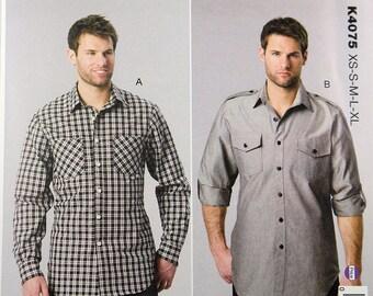 Kwik Sew 4075, Men's Shirts Sewing Pattern, Men's Button Down Shirt Pattern, Sewing Pattern, Men's Sizes S, M, L, Xl, Xxl, New and Uncut