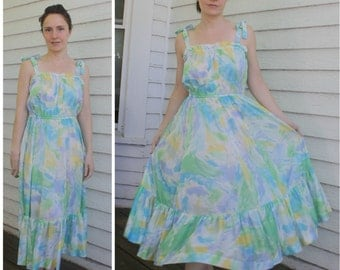 Lanz Sheer Print Summer Dress 70s Casual S XS