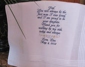 Father of the Bride Embroidered Wedding Handkerchief, Dad of the Bride, Parents of the Bride and Groom Gifts, by Simply Sweet Hankies