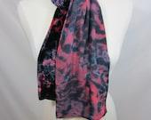 Rose and Black Shibori Silk Velvet Scarf