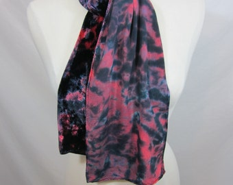 Rose and Black Shibori Silk Velvet Scarf
