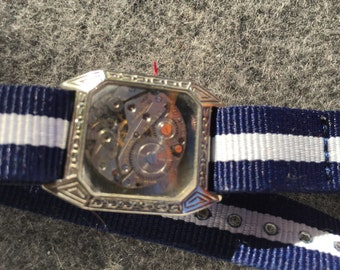 Bracelet made from vintage watch silver with blue and white strapf