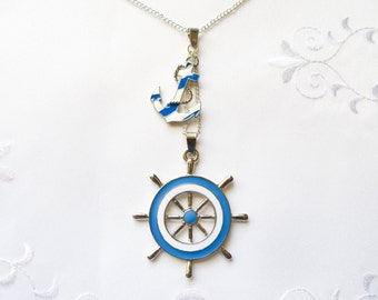 Nautical Necklace, Anchor and Helm Necklace, Anchor Necklace, Helm Necklace, Nautical, Pendant, Marine, Ocean, Blue, Stripes