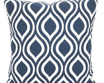 Navy Blue White Pillow Covers, Decorative Pillows, Cushion Covers Premier Navy Blue White Geometric Nicole 12 x 16 or 12 x 18