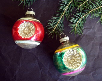 Vintage Double Indent Christmas Tree Ornaments - Shiny Brite - set of 2 - red, silver, pink, teal