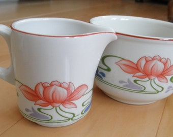 Vintage Villeroy and Boch FLORIDA Mini Creamer and Open Sugar Bowl - Set - Waterlily - Lotus