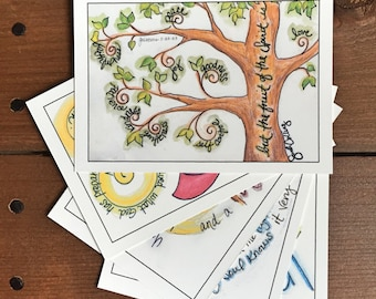 Scripture Memory Cards - Abide Theme, Set 4 - Fruit of the Spirit, Flat Notecards, Scripture Prints - 3.5 x 5, Assorted Set of 5