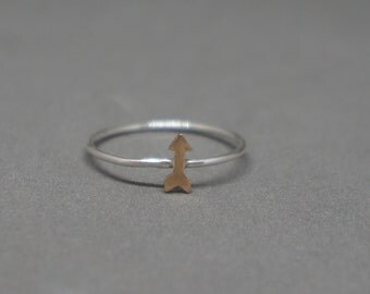 gold filled arrow sterling silver ring - tiny arrow ring gold - size 7.5