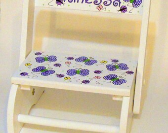 Child's Flip Stool Butterflies and Ladybugs in Purples Personalized