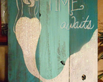 Mermaid Sign Hand Painted Original, Glittered, Beach