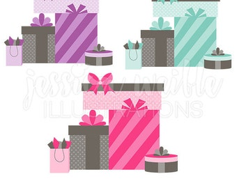 Stack of Gifts Cute Digital Clipart - Commercial Use OK - Pretty Presents Graphics, Gift Clip art, Party Gifts Illustration, #052