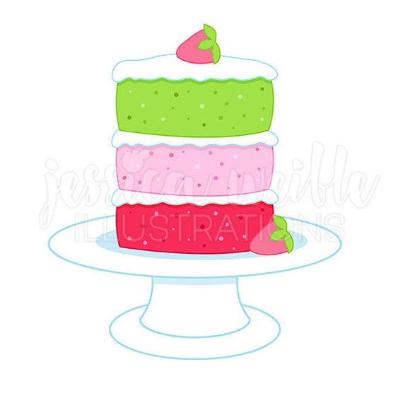 Tiered Strawberry Cake Cute Digital Clipart, Strawberry ...