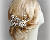 Pearl Hair Comb, Bridal Comb, Wedding Headpiece, Hair Vine, Silver - MAGGIE