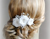 Light Ivory Wedding Hair Flowers, Vintage Style Bridal Fascinator, Off-White Roses Wedding Hair Clip - FIORI BIANCHI