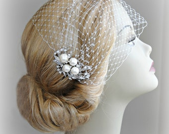 Bridal Veil and Bridal Comb, Bandeau Birdcage Veil, Bird Cage Veil With Ivory Pearl and Rhinestone Fascinator Comb - JOSEPHINE