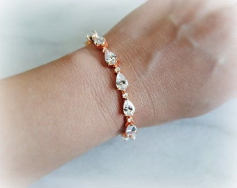 Rose Gold Wedding Bracelet, Swarovski Crystal Bracelet, Cubic Zirconia, Silver Crystal Bracelet - GIANA