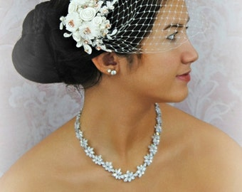Rose Gold Bird Cage Veil in Ivory or White with Lace Fascinator, Bridal Fascinator and Bandeau Veil with Crystals, Pearls - ODETTE ROUGE