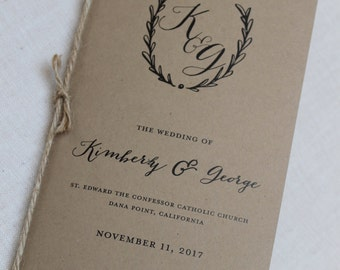 Rustic Monogram Wedding Program