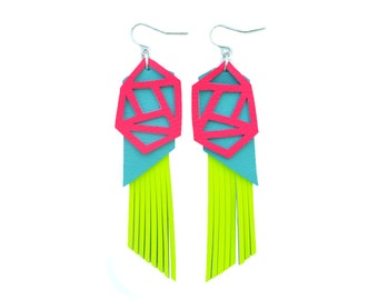Geometric Earrings, Neon Fringe Earrings, Hot Pink Leather Earrings, Turquoise Earrings, Yellow Statement Earrings, Geometric Jewelry