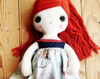 Redhead, green eyes -handmade fabric doll- cloth doll- OOAK