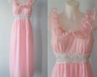 Vintage Pink Chiffon Nightgown, Lov Lee, 1960s Chiffon Nightgown, Chiffon Nightgown, Vintage Nightgown, Lingerie