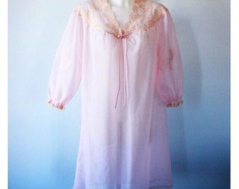 Vintage Nightgown, Vintage Pink Nightgown, 1960s Nightgown, Nightgown, Chiffon Nightgown, Double Chiffon Nightgown