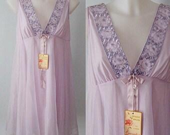 Vintage Chiffon Nightgown, Vintage Nightgowns, Queentex, Lavender Nightgown, Chiffon Nightgown, Wedding, Romantic, Vintage Lingerie
